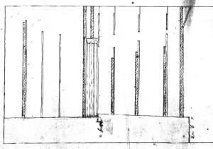 Section of the stage for 'The Siege of Rhodes', 1658-9